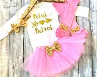 Petal patrol outfit, petal patrol shirt, flower girl shirt, flower girl outfit, wedding gift, flower girl gift, pink gold, flower girl tutu