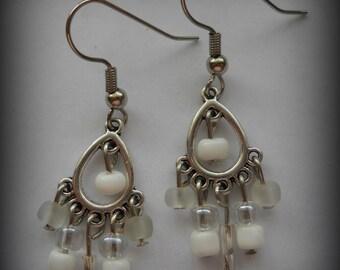 White Chandelier Earrings, White Earrings, Universal Earrings, Trendy Earrings