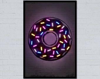 Donut art, Donut print, neon donut, neon art, neon sign, donut poster, pop art, street art, stencil art, home decor, wall art, food art