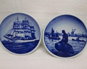 "Vintage Pair of Royal Copenhagen DENMARK Fajance - Ship and Mermaid Blue and White Wall Plates - Skoleskibet ""Danmark"" and Langelinie"
