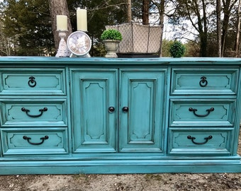 Sold...Turquoise Distressed Dresser ~ TV Buffet ~ Entryway Buffet ~ Server