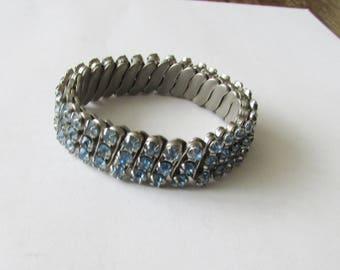 Vintage Blue Rhinestone Stretch Bracelet Light Blue Cuff