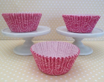 Pink Swirl Cupcake Baking Papers - Set of 10