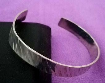 Silver Cuff with Hammered Textured Design