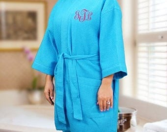 Personalized Embroidered Monogram Bathrobe Add up to 3 initials to waffle weave robe