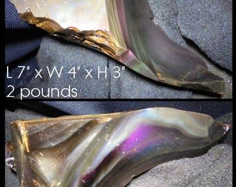 Large 2 Pound Rough Rainbow Obsidian Display Piece