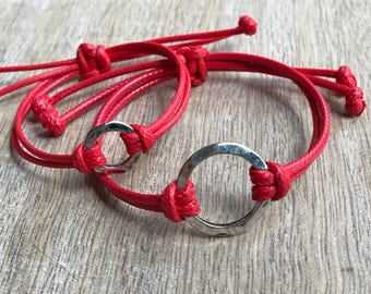 Mommy and Me Bracelets, Red Waxed Cord, Mom and daughter bracelets, Circle Charm Bracelets, Matching Bracelets WC001478