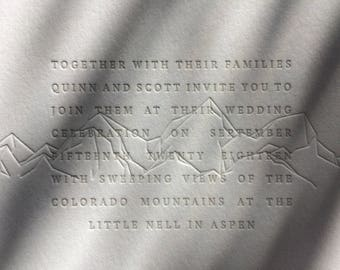 MINIMAL MOUNTAIN - minimalist mountain letterpress wedding invitation | modern blind impression