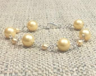 8mm Yellow Mother Pearl Shell Gemstones 925 Silver Handmade Bracelet, Healing Chakra Protection  Meditation Yoga Cancer Gemini Bracelet