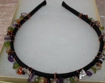 Crystal Healing Headband, gemstones, copper, black satin