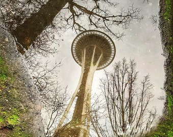 Seattle Days (Space Needle Reflections), Space Needle Fine Art Print, Seattle Photography