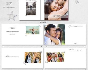 12X12, 10x10  (20 pages), PSD, Wedding Guest Book, Love Story Book, Album Template, 10 spreads and a cover - AL23