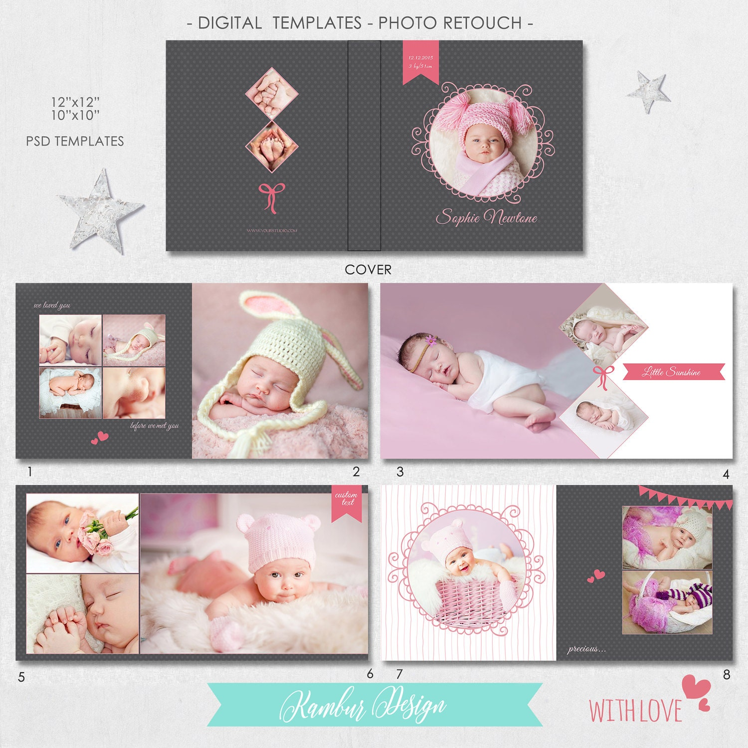 Photo Album Examples: 12x12, 10x10 PSD (30 Pages), Album Template, Newborn, Baby