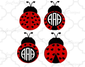 Heart Ladybug SVG monogram Frames, valentine svg, lady bug beetle Svg, dxf, eps, png cut files, Instant download. love bug monogram frame