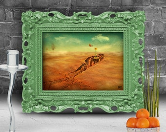Oasis in the desert with a flower and butterflies Surreal fine art print   FRAMED