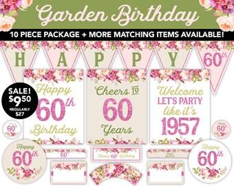 Boho Watercolor Garden 60th Birthday Decorations - 60th Birthday Decor Boho Watercolor Flowers - Printable Decor - 1957 Birthday Decor