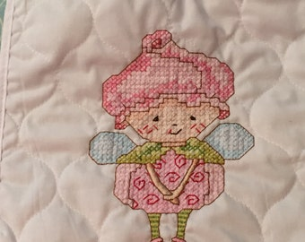Hand Embroidered Baby Bib - Fairy