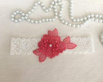 wedding garter, bridal garter, coral lace, rhinestone