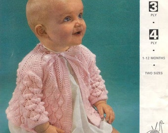Vintage Knit Baby Matinee Coat instant download knitting pattern