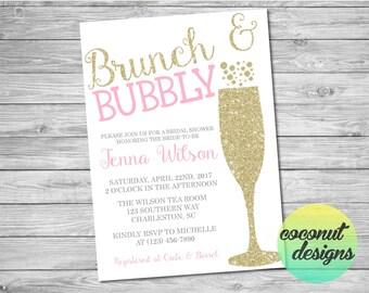 Brunch and Bubbly Invitation / Bridal Shower Invitation / Pink and Glitter / Brunch and Bubbly Bridal Shower / Digital File
