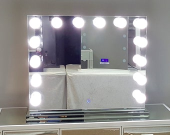 Vanity Mirror With Lights And Plugs : Frameless Hollywood Forever Lighted Vanity Mirror w/ LED BULBS