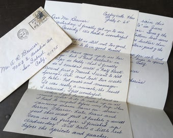 Letter Ephemera, Vintage Letter Sent Out on July 2nd, 1965 Out of Coffeyville, Kansas. Scrapbook Ephemera, Old Paper Goods, Collectible