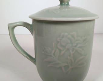 Vintage Ceramic Mug with Lid