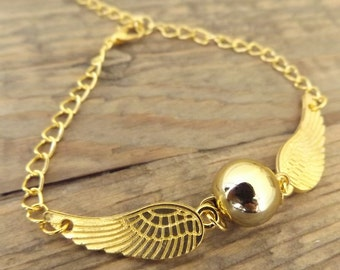 Harry Potter Bright Gold Snitch Bracelet