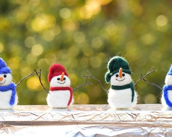 Snowman needle felted handmade wool friends