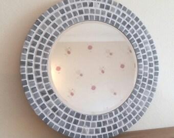 Bleu miroir rond mosa que murale salle de bain 30cm for Miroir rond mosaique