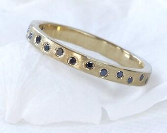 Black Diamond Wedding Ring, 18ct Gold or Platinum, Eco Friendly, Handmade to Size