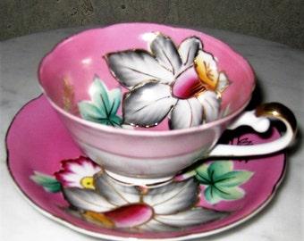 Hand Painted Occupied Japan Princess Teacup Gilding Porcelain Vintage China Antique 1940s