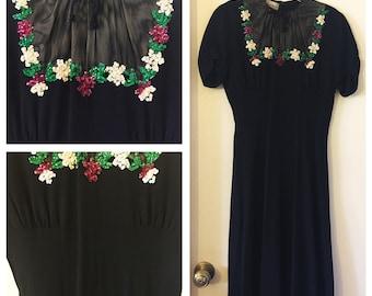Original Vintage 1940's Crepe Sequin Dress with Mesh Illusion Neckline, 40's Cocktail Dress, Vintage WWII Dress, 40's Swing Dress, Size: S