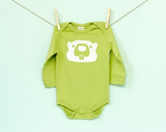 Organic Cotton Beaver Long Sleeve Onesie in Green with White / 6-12, 12-18 Months