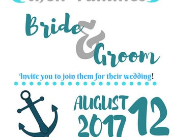 Beach Nautical Wedding Invitation Digital Download