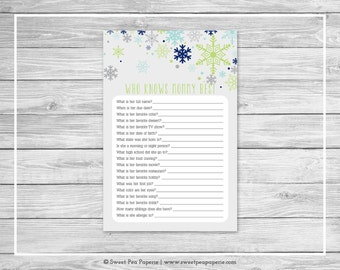 Winter Baby Shower Who Knows Mommy Best Game - Printable Baby Shower Who Knows Mommy Best Game - Baby It's Cold Outside Baby Shower - SP142