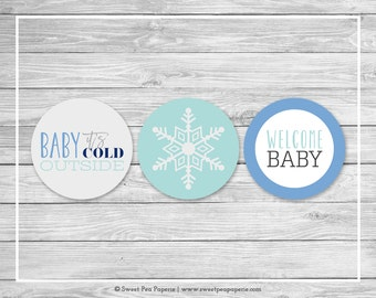 Winter Baby Shower Cupcake Toppers - Printable Baby Shower Cupcake Toppers - Baby It's Cold Outside Baby Shower - Cupcake Toppers - SP144