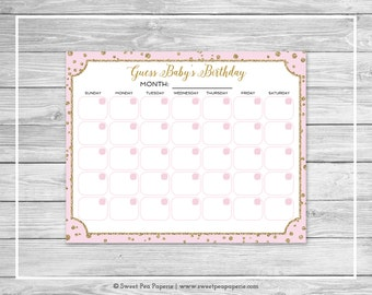 Pink and Gold Baby Shower Guess Baby's Birthday - Printable Baby Shower Guess Baby's Birthday Game - Pink and Gold Baby Shower - SP145