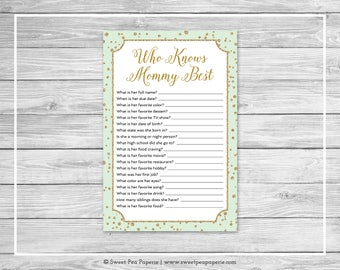 Mint and Gold Baby Shower Who Knows Mommy Best Game - Printable Baby Shower Who Knows Mom Best - Mint and Gold Confetti Baby Shower - SP147