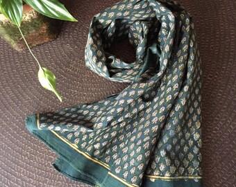 SALE - was 39.00   Hand block printed scarf, Mudresist scarf,Dabu printed scarf, Handmade scarf