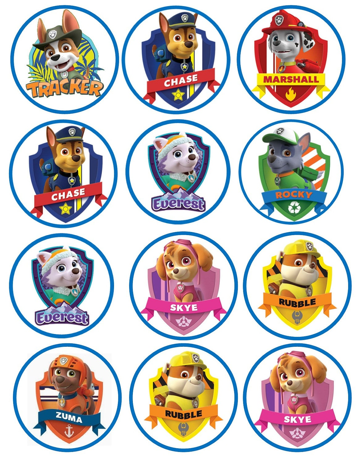 Paw Patrol Edible Cookie/Cupcake toppers