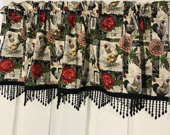 Country shabby chic rooster kitchen Curtain Valance with bead border