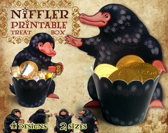 Niffler Printable Treat Box, Fantastic Beasts party, Harry Potter party, birthday decorations, cupcake wrapper, jewelry box, Newt Scamander,