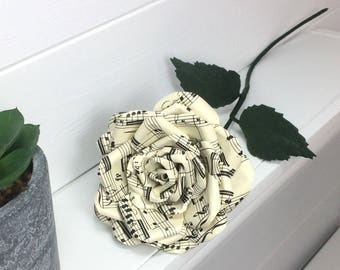 Music sheet rose made from vintage music sheet or Specific piece of music and colour - 1st wedding anniversary, love, music lover, opera fan