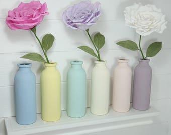 Teachers thank you gift, paper flower in bottle, shelf sitter, birthday gift, desk decor