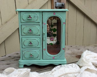 Shabby Chic Mint Green Armoire Style Jewelry Box