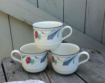 Vintage Lenox Poppies on Blue Coffee/Tea Cups