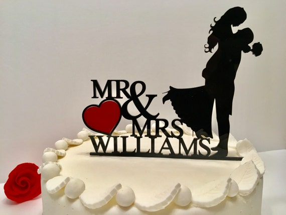 Wedding Cake Toppers Mr and Mrs with Red Heart Personalized Acrylic Cake Topper with last name Custom Bride and Groom wedding cake toppers