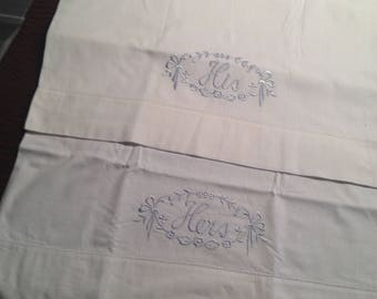 Bridal Honeymoon His Hers Pillowcases Blue Embroidery Floral Vine White