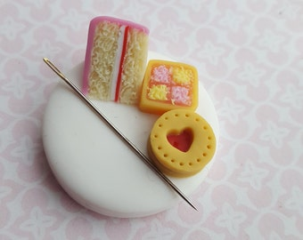 Magnetic needle minder for embroidery and cross stitch, polymer clay needle nanny, sewing and needlework accessory, cake needle rest